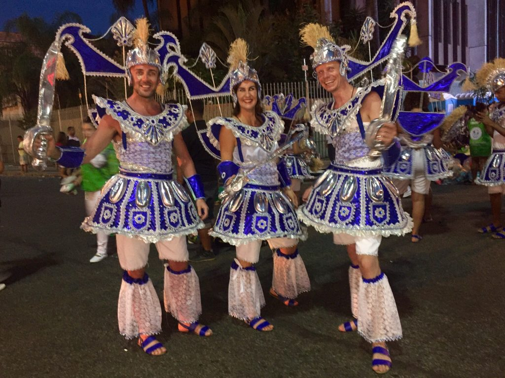 James at Carnaval in Rio in 2016 with two friends
